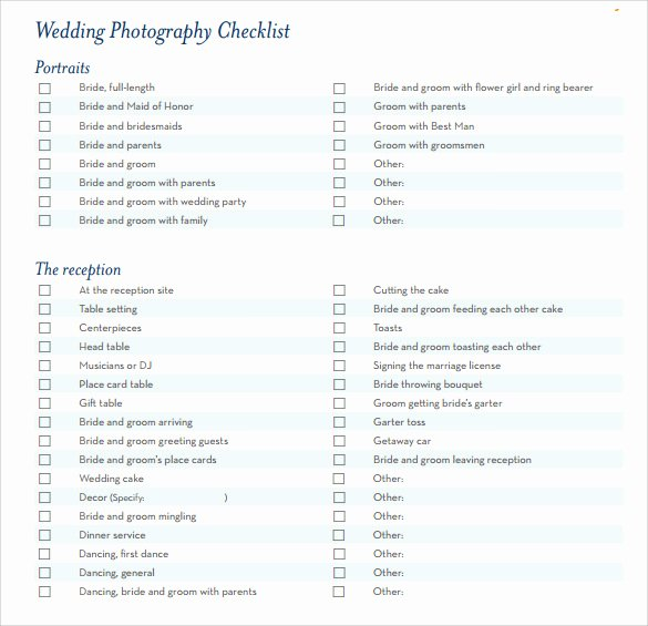 Wedding Shot List Template Elegant 7 Wedding Planning Checklist Samples