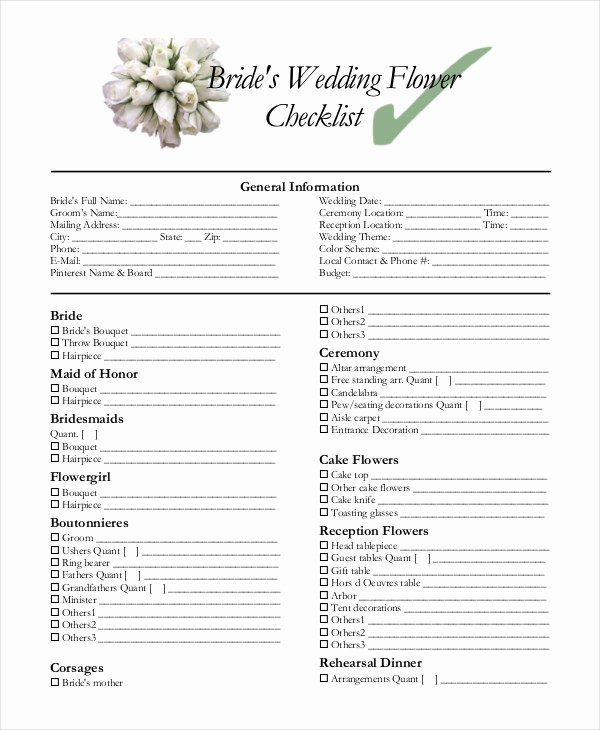 Wedding Shot List Template Elegant Simple Wedding Checklist 23 Free Word Pdf Documents
