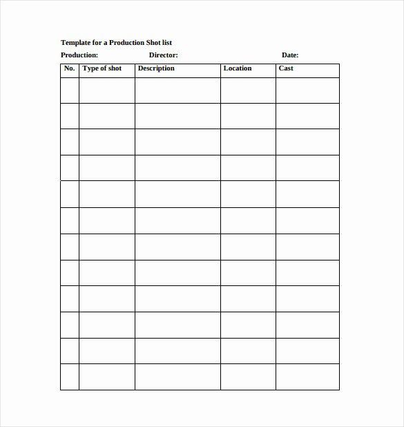 Wedding Shot List Template Fresh 9 Shot List Templates – Pdf Word Excel