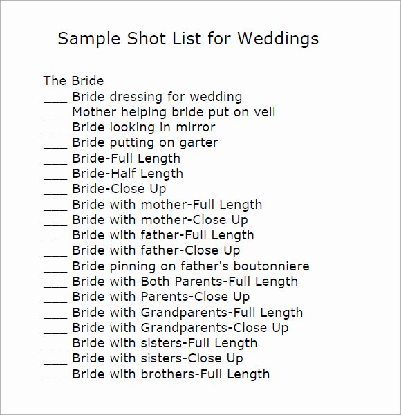 Wedding Shot List Template Lovely Pin Loan Agreement Pdf On Pinterest