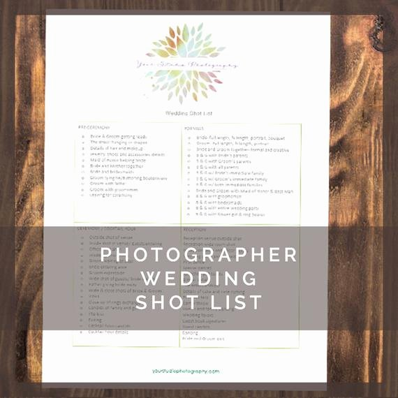 Wedding Shot List Template New Printable Wedding Graphy Shot List for by Lumedesign
