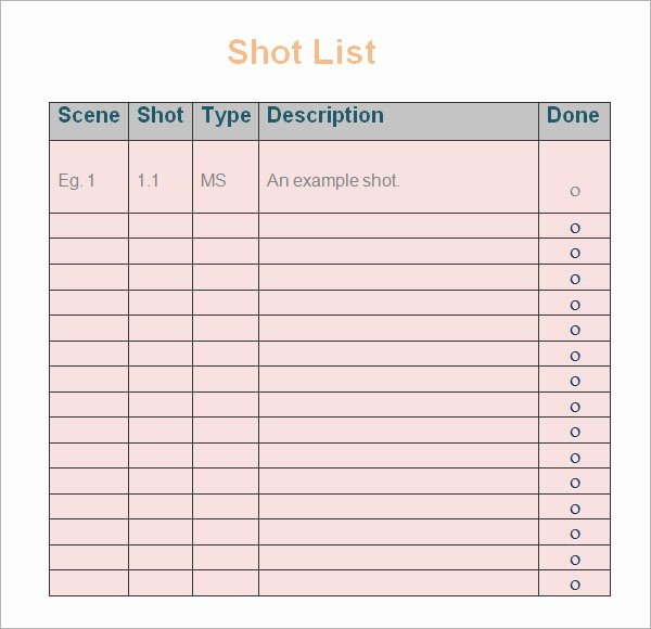 Wedding Shot List Template New Shot List Template 10 Download Free Documents In Word Pdf