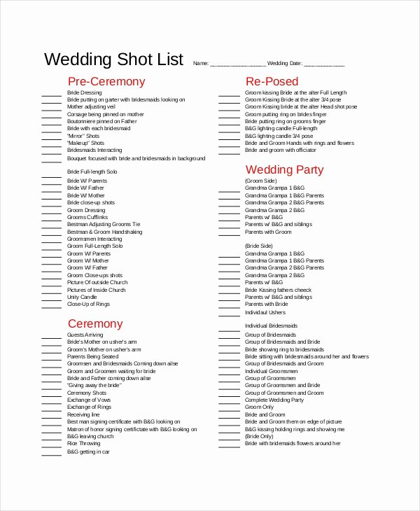 Wedding Shot List Template New Shot List Template 10 Free Word Pdf Psd Documents