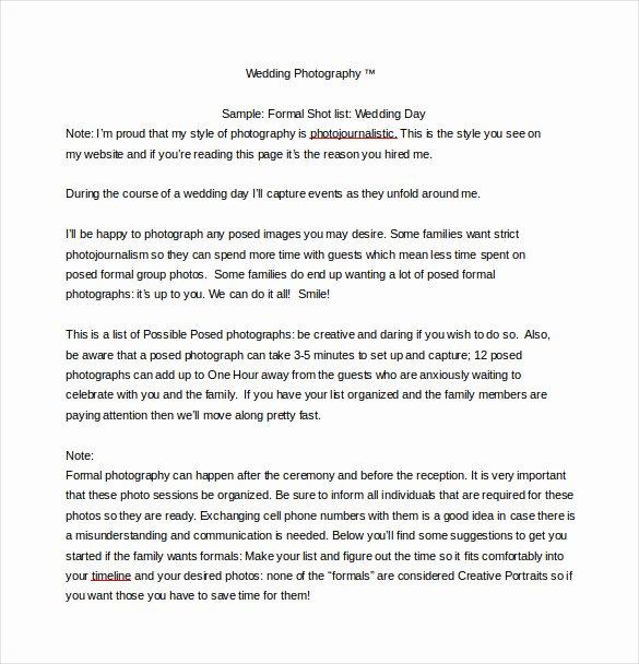 Wedding Shot List Template Unique 9 Shot List Templates – Pdf Word Excel
