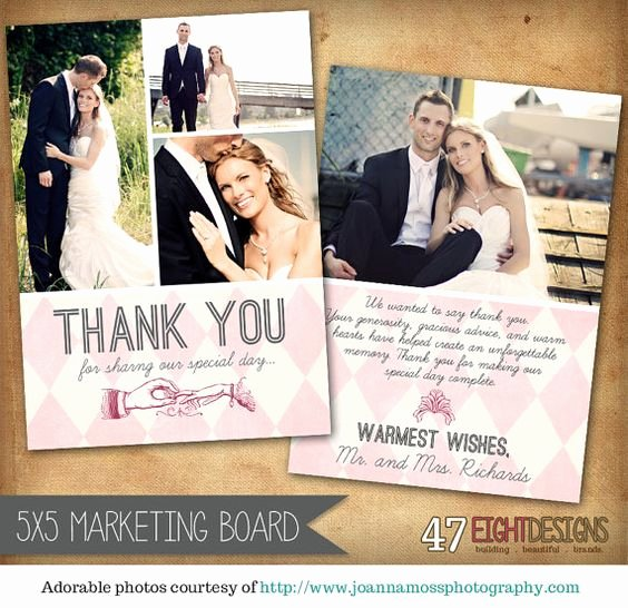 Wedding Thank You Card Template Elegant 5x7 Wedding Thank You Card Template for Graphers Th01
