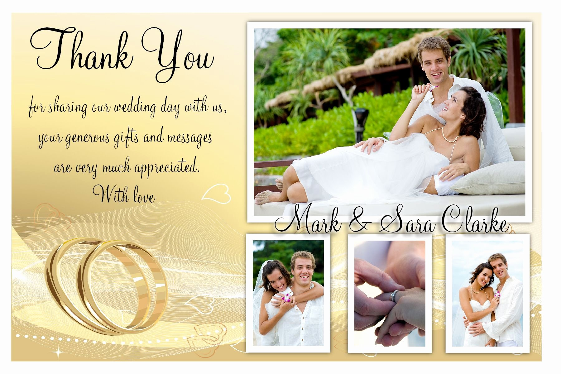 Wedding Thank You Card Template Inspirational How Make Best Wedding Thank You Cards Modern Ideas