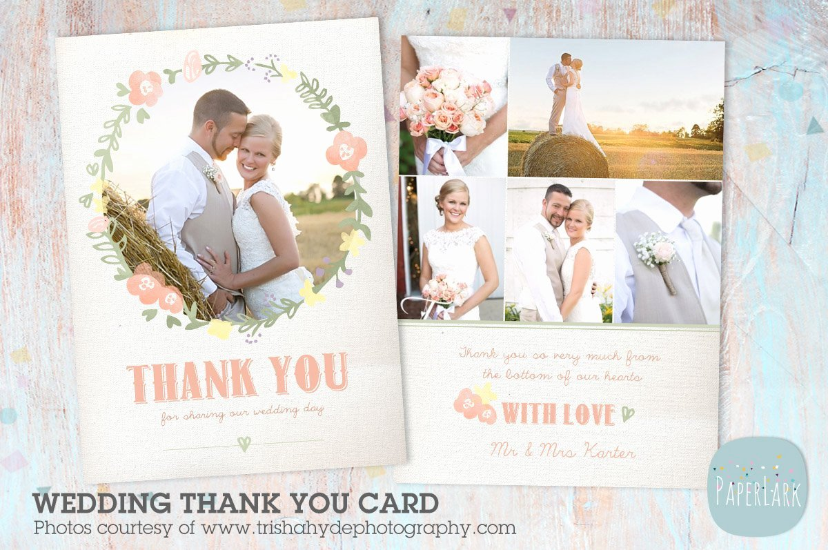 Wedding Thank You Card Template Lovely Aw014 Wedding Thank You Card Postcard Templates