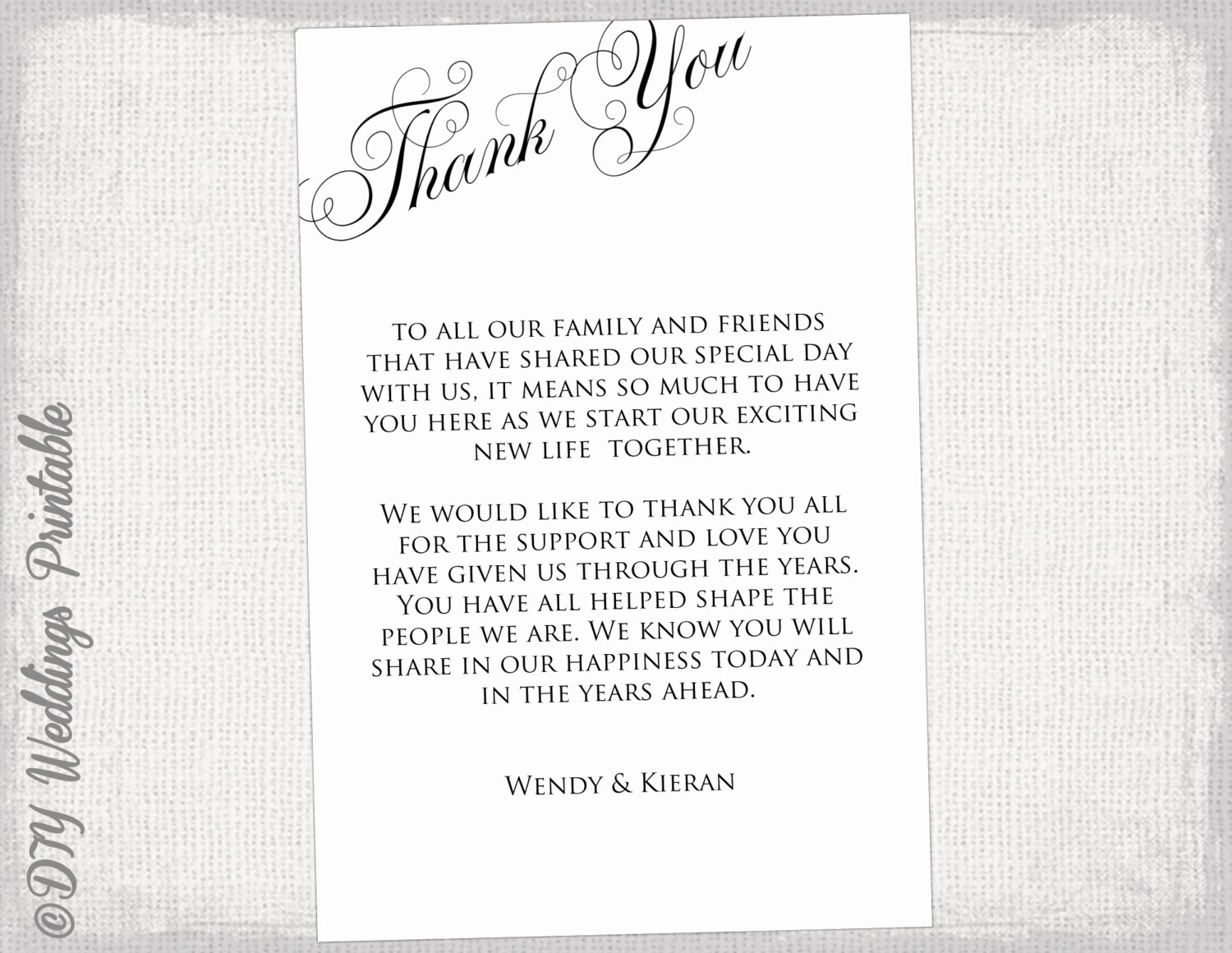 Wedding Thank You Card Template Luxury Printable Thank You Card Template Black & White Wedding Thank