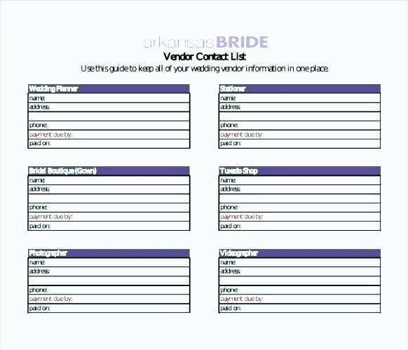Wedding Vendor Contact List Template Beautiful 8 Contact List Excel Template Tipstemplatess