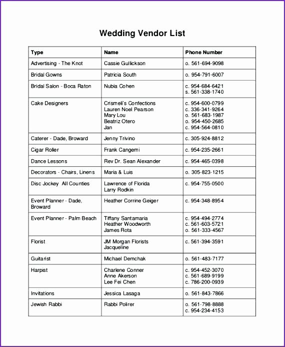 Wedding Vendor Contact List Template Elegant Wedding Party List Template Vendor Contact Master