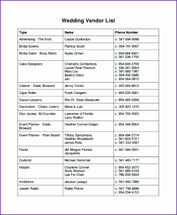 Wedding Vendor Contact List Template Elegant Wedding Party List Template Vendor Contact Master