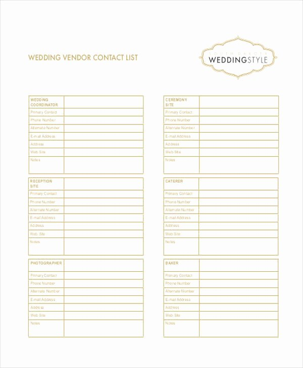 Wedding Vendor Contact List Template Elegant Wedding Vendor Contact List Excel Driverlayer Search Engine