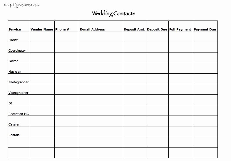 Wedding Vendor Contact List Template Fresh Wedding Contact List