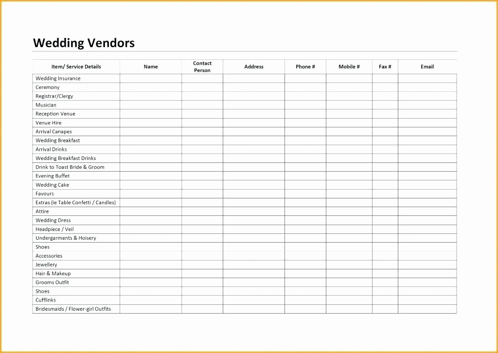 Wedding Vendor Contact List Template Inspirational Free Wedding Vendor Contact List Template Invoice topic