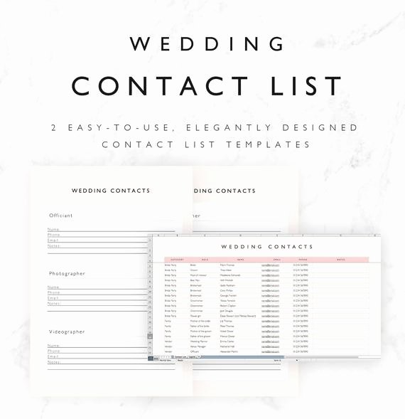 Wedding Vendor Contact List Template Inspirational Wedding Contact List Template Excel Spreadsheet Printable