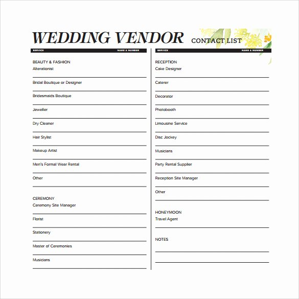Wedding Vendor Contact List Template Lovely Contact List Template 14 Download Free Documents In Pdf