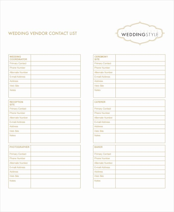 Wedding Vendor Contact List Template New 8 Vendor List Templates Pdf Doc