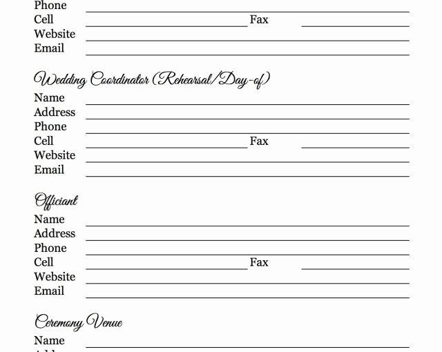 Wedding Vendor Contact List Template Unique Free Wedding Vendor Checklist Template – Free Template Design