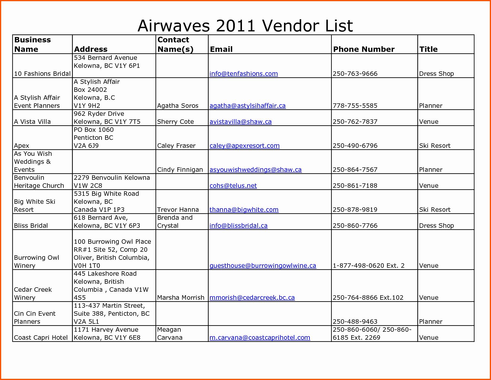 Wedding Vendors List Template Inspirational Contact List Excel Template Portablegasgrillweber