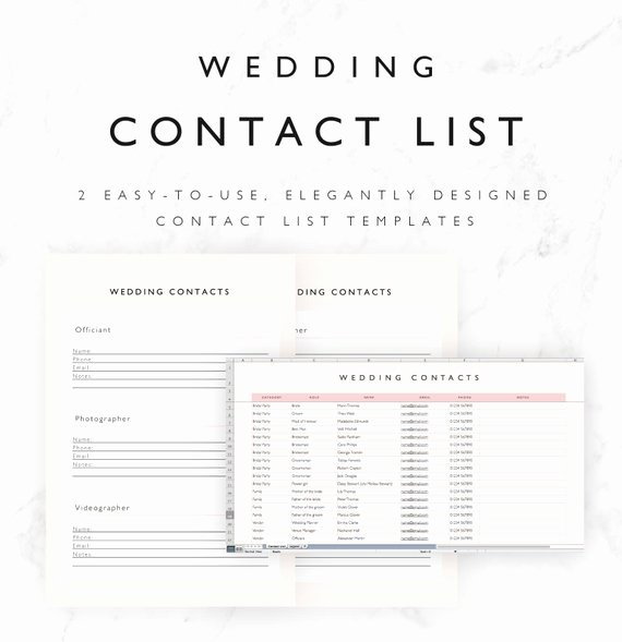 Wedding Vendors List Template Inspirational Wedding Contact List Template Excel Spreadsheet Printable