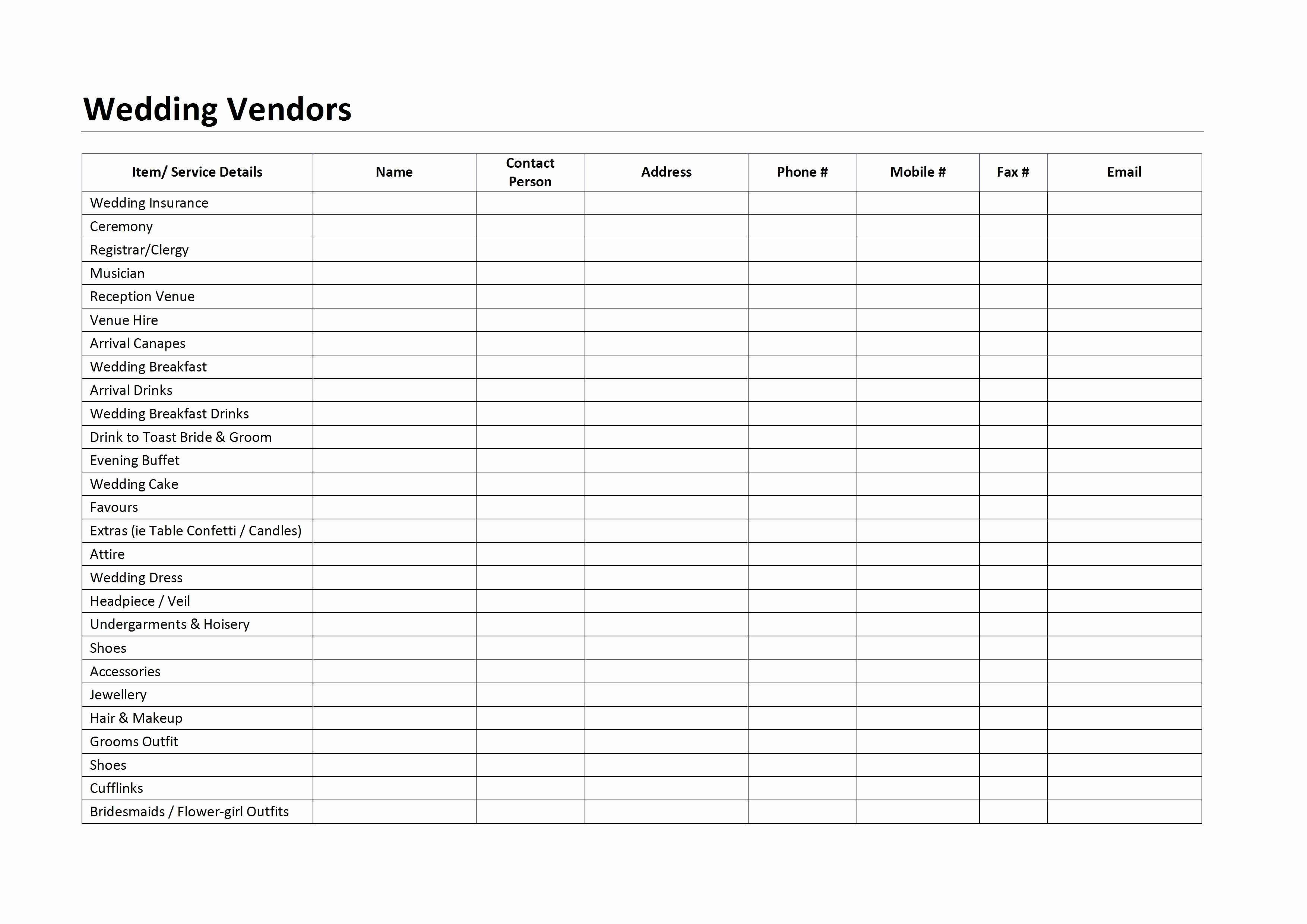 Wedding Vendors List Template Lovely Log Archives Page 2 Of 3