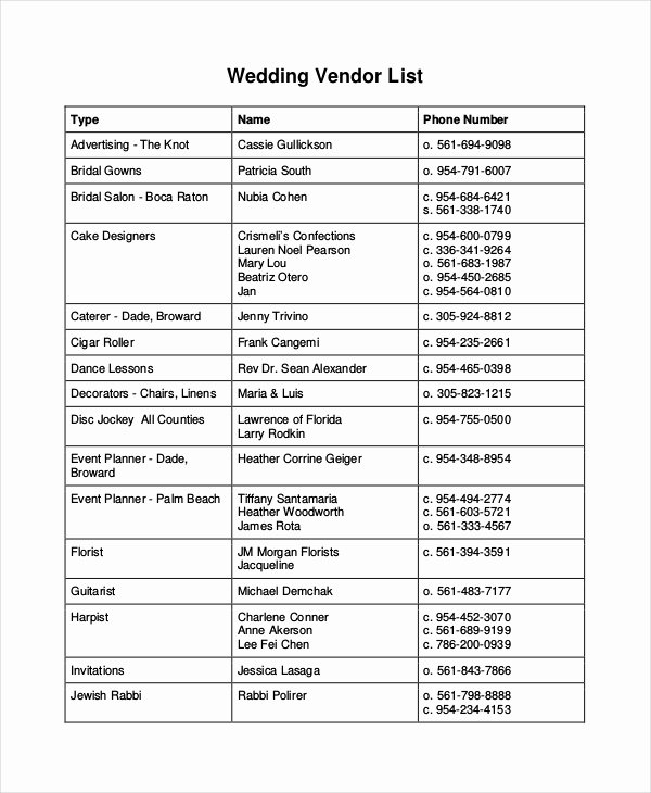 Wedding Vendors List Template New Vendor List Template 7 Free Word Pdf Document