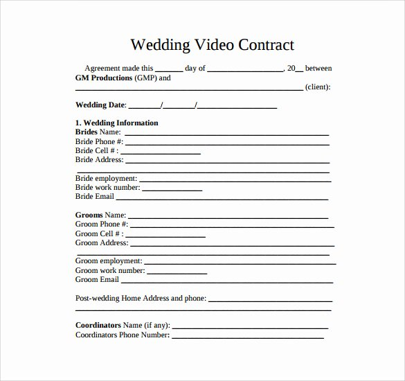 Wedding Videographer Contract Template Beautiful Videography Contract Template 11 Download Free