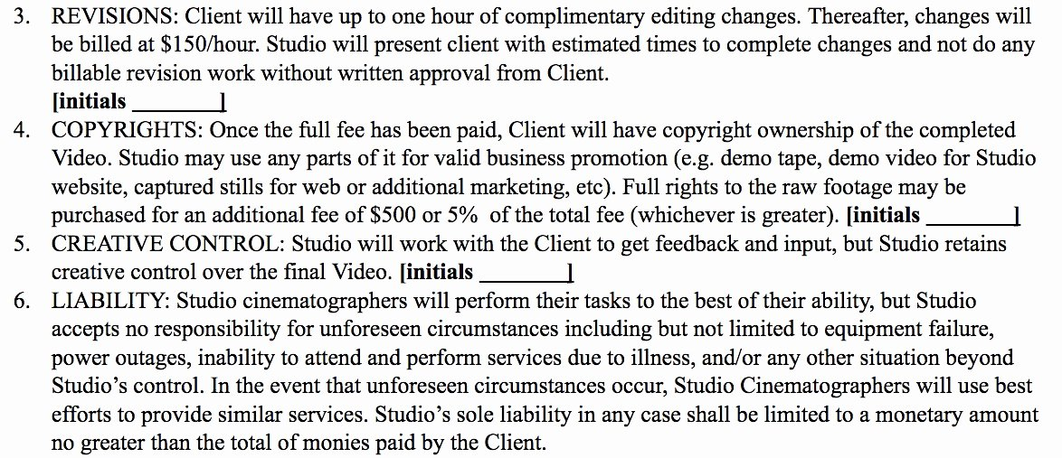 Wedding Videographer Contract Template Beautiful Wedding Videographer Contract Template Awesome 5 Free