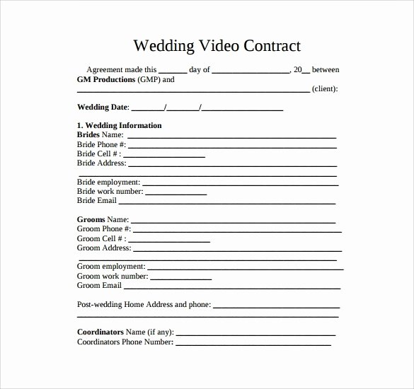Wedding Videographer Contract Template Elegant Wedding Videography Invoice