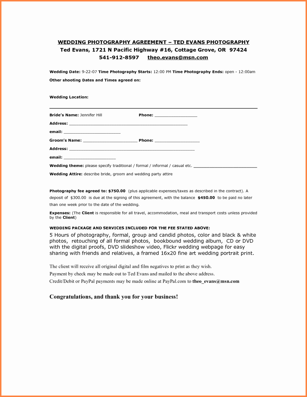 Wedding Videographer Contract Template Fresh 87 Wedding Videography Contract Sample Marriage