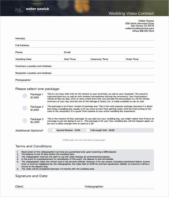 Wedding Videographer Contract Template Fresh 9 Videography Contract Templates to Download for Free