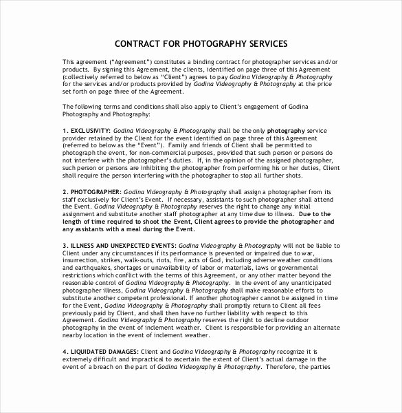 Wedding Videographer Contract Template Inspirational 20 Graphy Contract Template