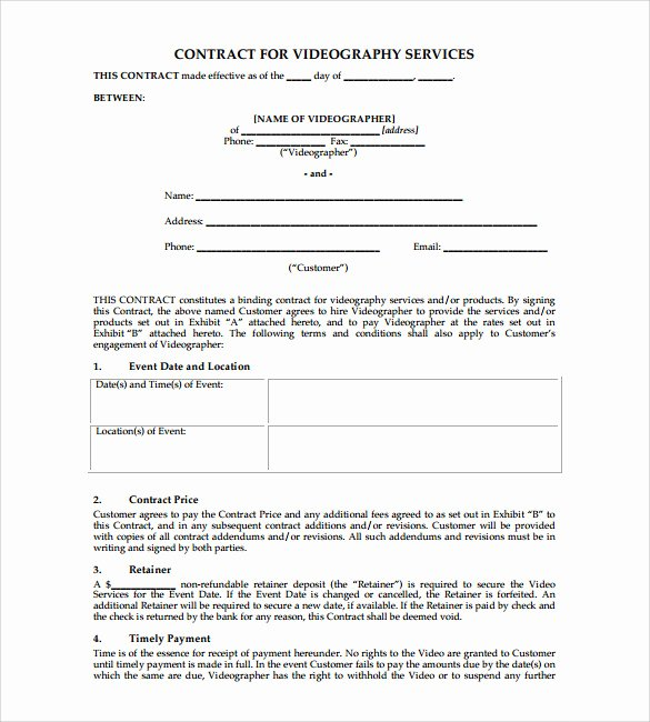 Wedding Videographer Contract Template Inspirational Videography Contract Template 9 Download Documents In