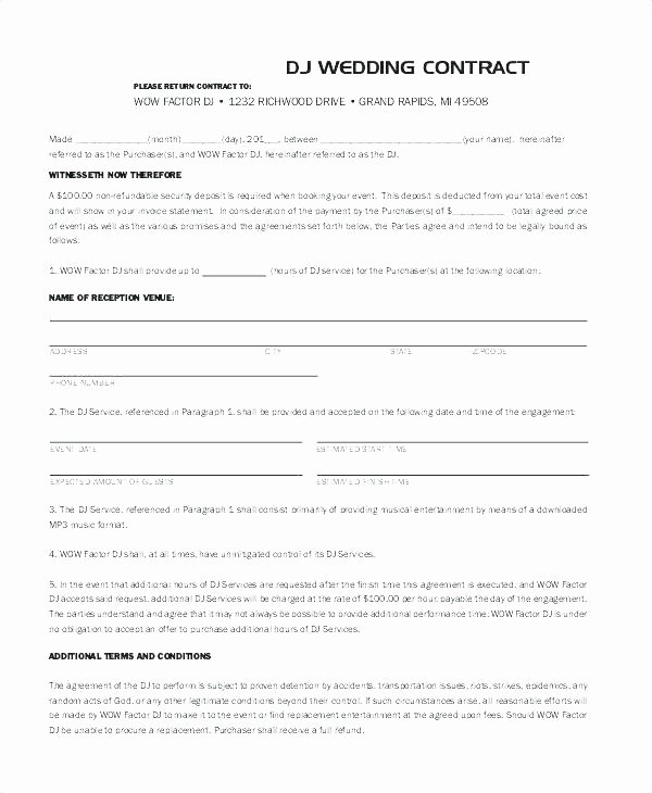 Wedding Videographer Contract Template New 87 Wedding Videography Contract Sample Marriage