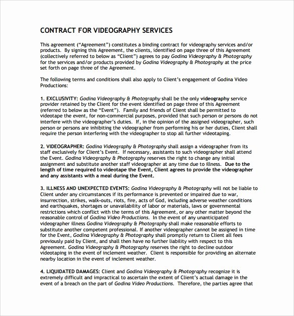 Wedding Videographer Contract Template New 9 Videography Contract Templates to Download for Free
