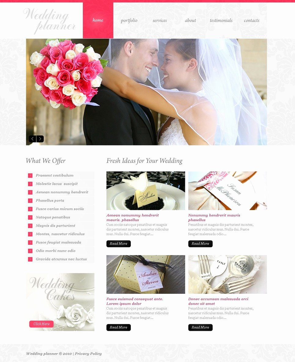 Wedding Web Template Free Unique Wedding Planner Website Template