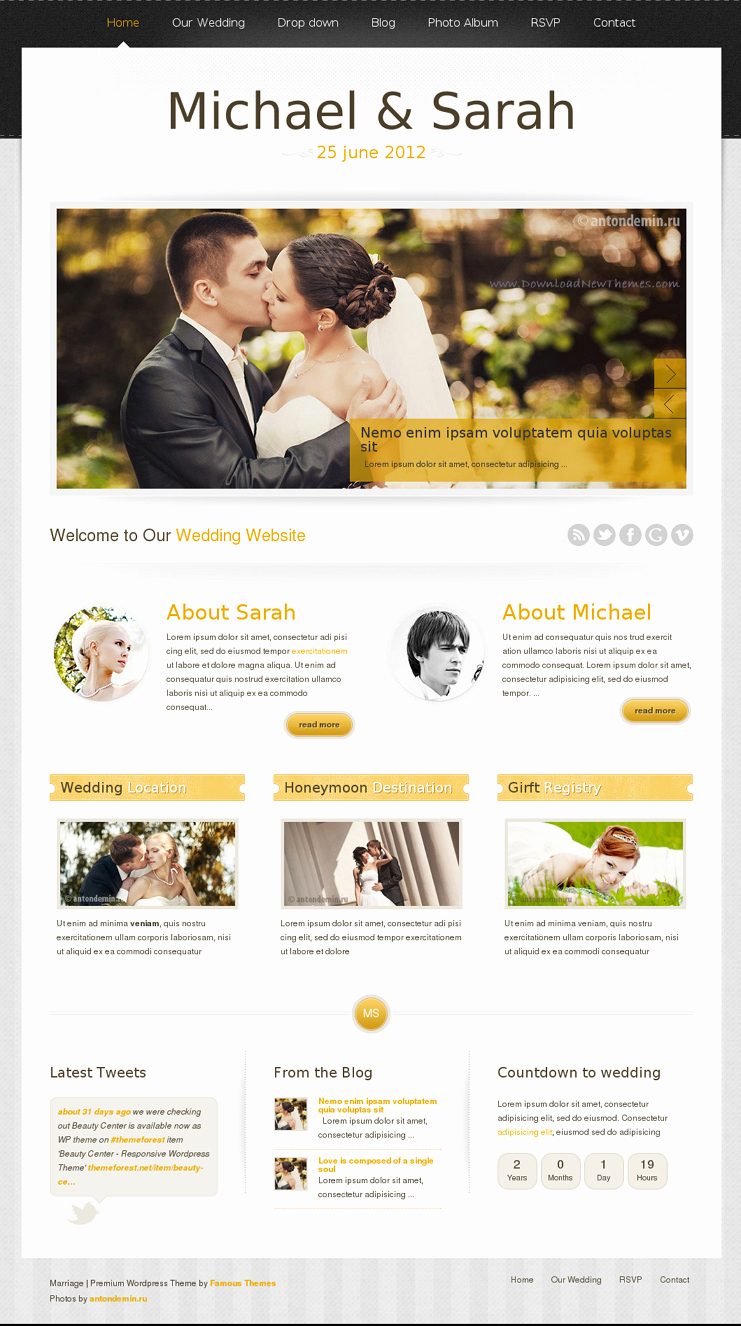Wedding Website Template Free Awesome 15 Beautiful Wedding Website Templates Download New themes