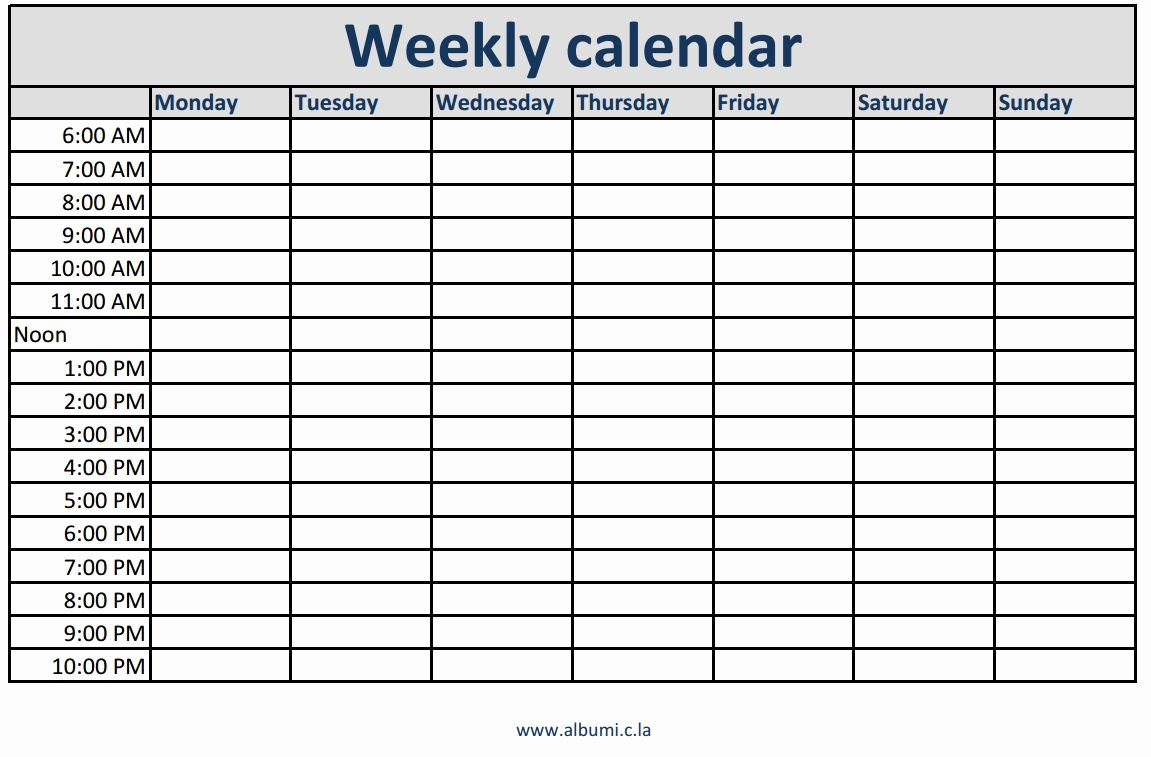 Week Schedule Template Pdf Best Of Weekly Calendars with Times Printable