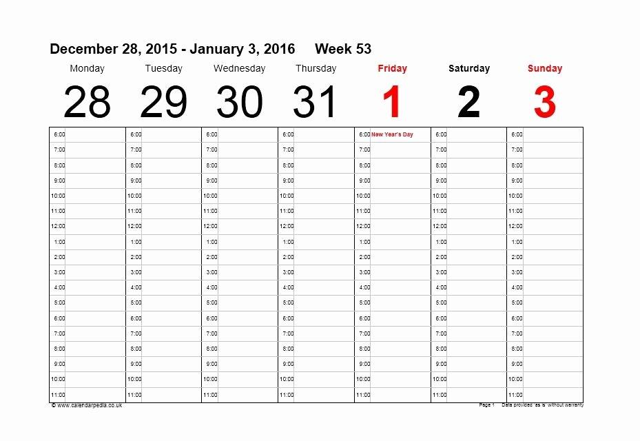 Week Schedule Template Pdf Elegant 26 Blank Weekly Calendar Templates [pdf Excel Word