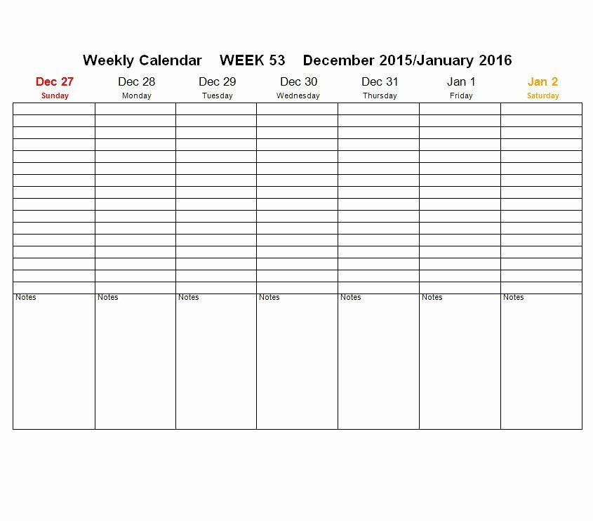 Week Schedule Template Pdf Fresh 26 Blank Weekly Calendar Templates [pdf Excel Word]