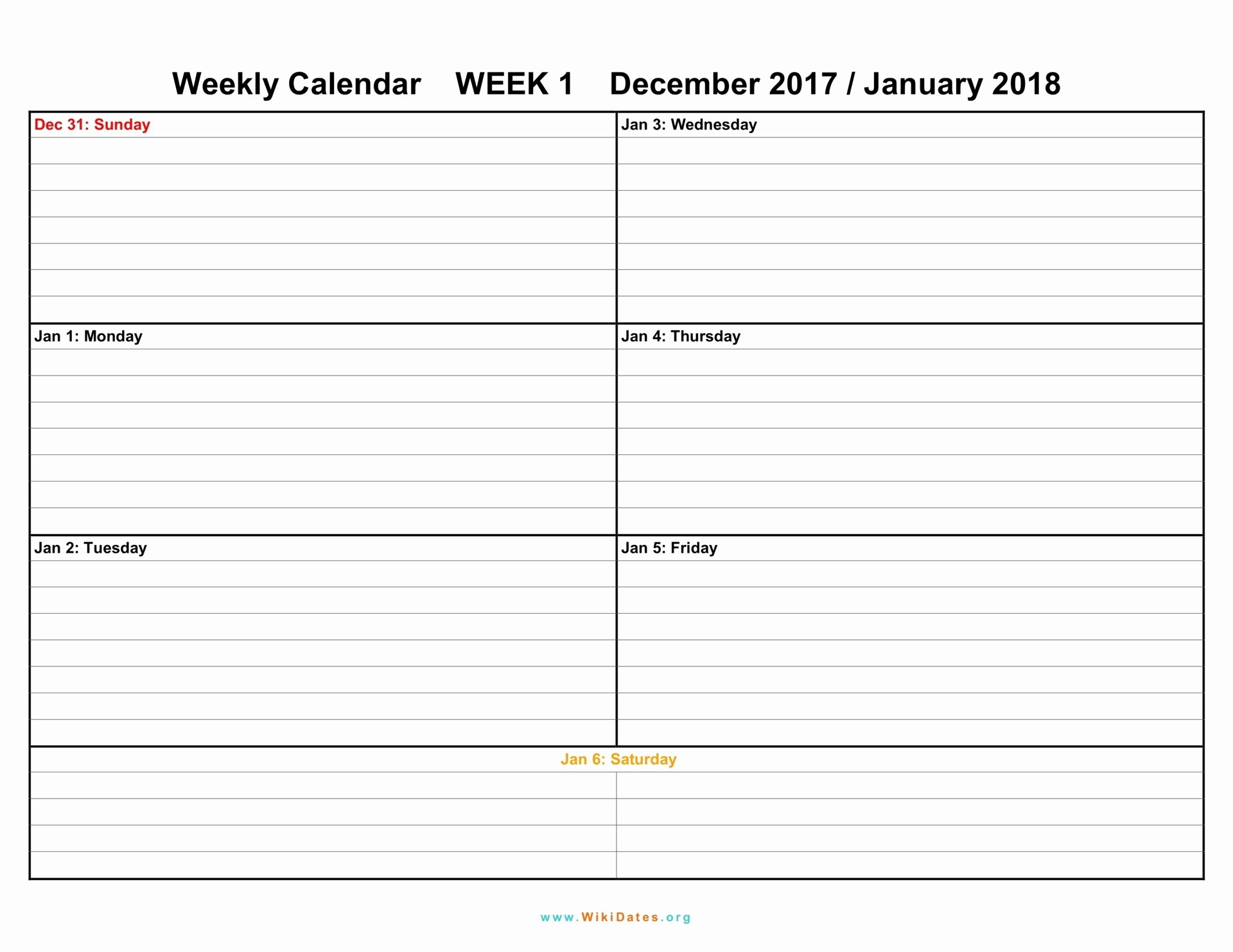 Week Schedule Template Pdf Fresh Weekly Calendar Download Weekly Calendar 2017 and 2018
