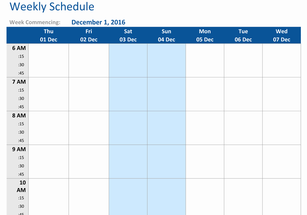 Week Schedule Template Pdf Inspirational December 2016 Weekly Schedule Template Word Pdf