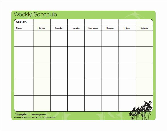 Week Schedule Template Pdf Inspirational Family Schedule Template