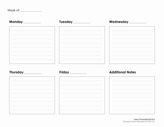 Week Schedule Template Pdf Inspirational Weekly Calendar Printable