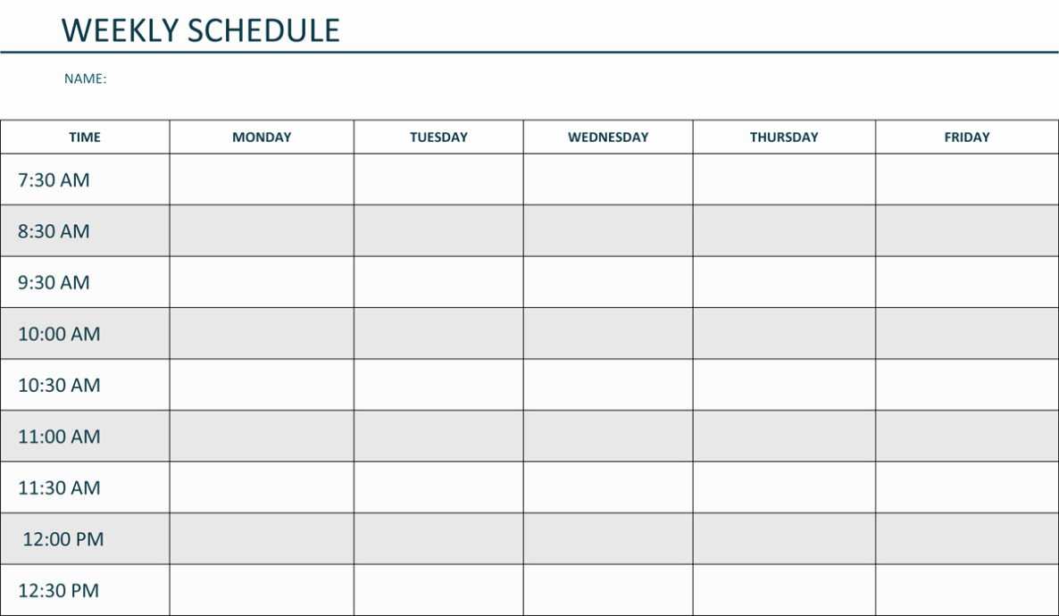 Week Schedule Template Pdf Inspirational Weekly Schedule Template Pdf