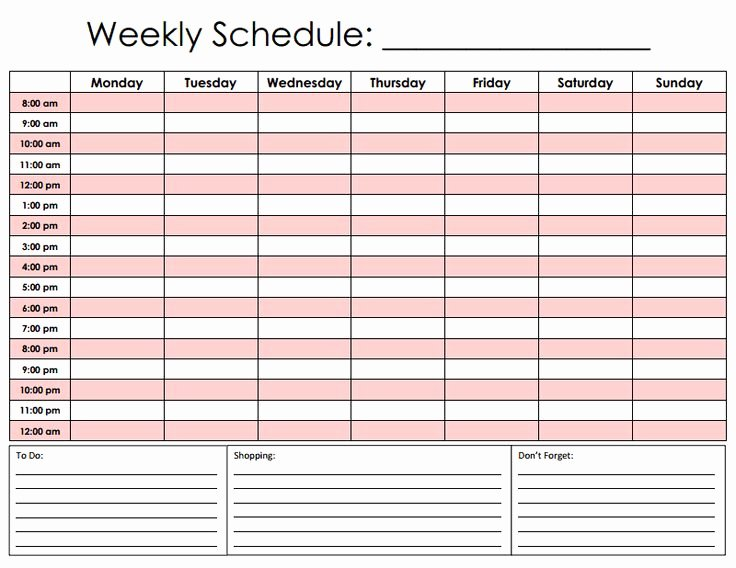Week Schedule Template Pdf New Hourly Schedule Pdf for the Home