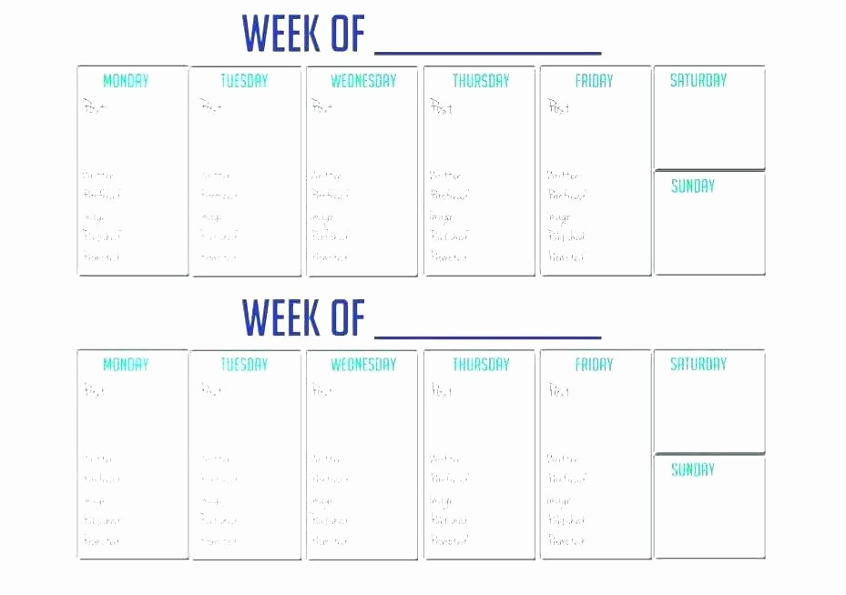 Week Schedule Template Pdf Unique Two Week Schedule Template New Printable 2 Week Calendar