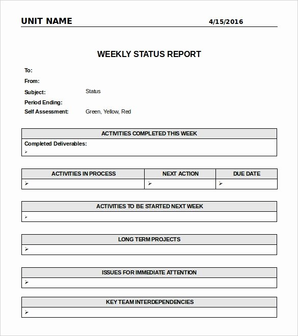 Weekly Activities Report Template Awesome Weekly Report Template