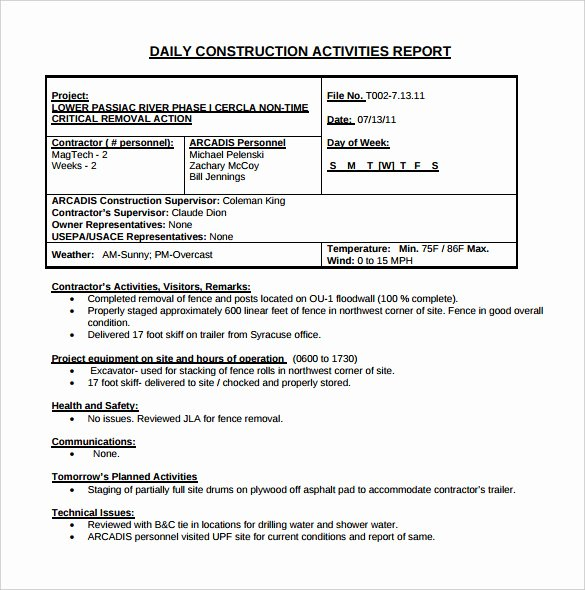 Weekly Activities Report Template Fresh 21 Daily Construction Report Templates Pdf Google Docs