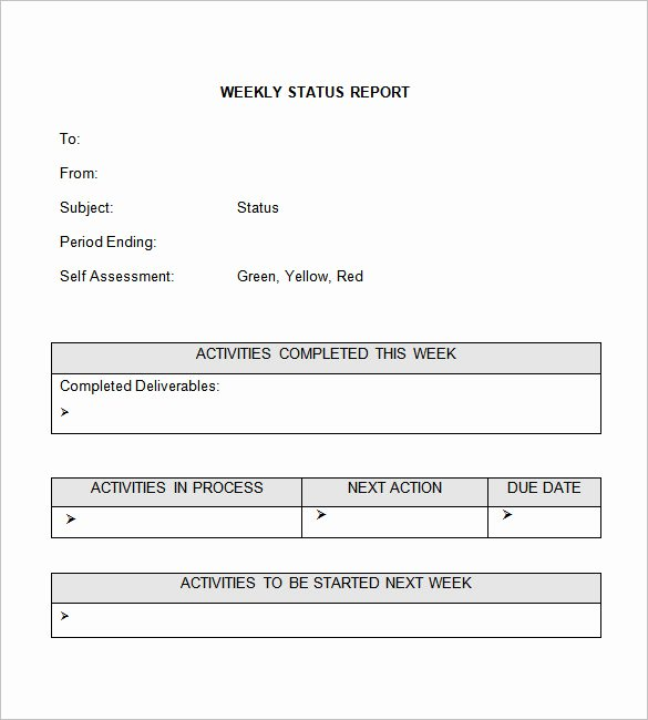 Weekly Activities Report Template Inspirational Weekly Status Report Template 28 Free Word Documents